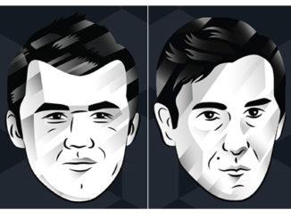 Official website pop-art images of Carlsen and Karjakin