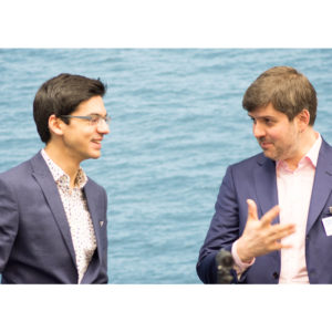 Anish Giri talking with Peter Svidler at the 2018 Tata Steel Chess Tournament © | Hot Off The Chess, http://www.hotoffthechess.com