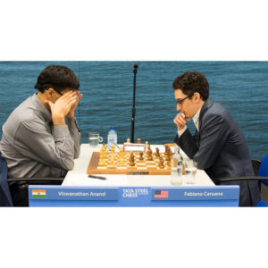 One of the two decisive games of the Masters Group in this round, Anand vs Caruana, 1-0. Photograph by John Lee Shaw © www.hotoffthechess.com