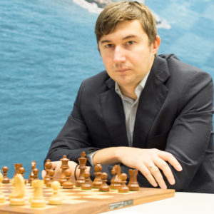 Sergey Karjakin at the start of his game against Wesley So. Photograph by John Lee Shaw © www.hotoffthechess.com